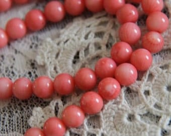 1 full 16inch strand of Coral beads-6mm-8898