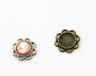 12  pcs of metal setting for 9mm cameo-7545 antique bronze