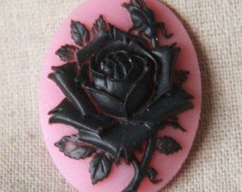 6 pcs of pink rose cameo 30x40mm -0400  black  on pink
