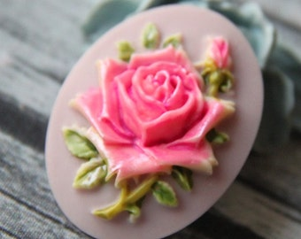 6pcs of hand painted resin rose cameo-RC0400-H2