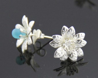 6 pcs /3 pairs of brass flower earing post fit 4-6mm bead-4516-silver