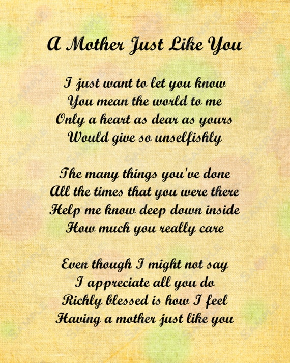 Items similar to Mother Just Like You Love Poem for Mom 8 ...