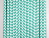 25 Ocean Mist and White Chevron Paper Straws birthday party wedding cake pop sticks Bonus diy straw flags