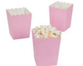 24 Mini lt. pink  popcorn boxes treat favors