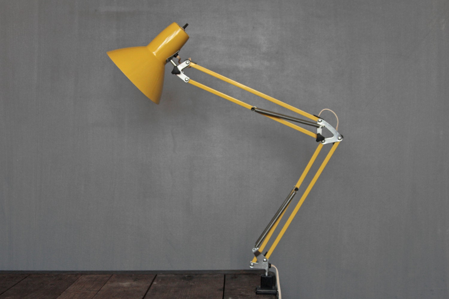Mid Century Yellow Desk Lamp Industrial Task Lamp Clamp Light
