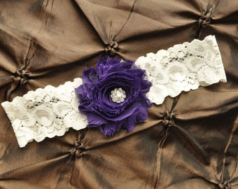 Wedding Garter, Bridal Garter - Ivory Lace Garter, Toss Garter, Shabby Chiffon Rosette Purple Wedding Garter, Ivory Wedding Garter