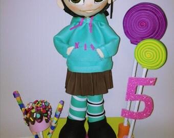 vanellope centerpiece -  Vanellope von Schweetz -  Wreck-It Ralph - sugar rush - fofucha doll Birthday centerpiece