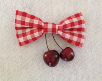 Red and White Gingham Bow with Cherries - Alligator Clip