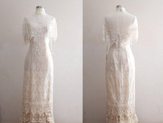 Vintage Lace Wedding Dress 90s Vintage Edwardian 1900s