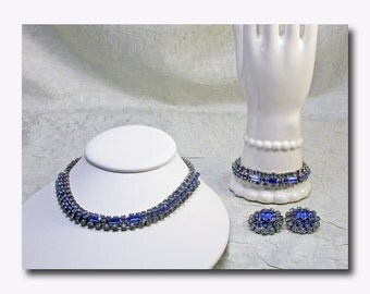Blue Rhinestone Parure c. 1950's - Necklace, Bracelet, Earrings