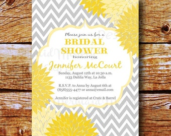Bridal Shower Invitation - Baby Shower Invitation - Wedding Shower Invite - Printable - Yellow Grey - Jennifer