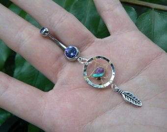 dreamcatcher belly ring dreamcatcher turquoise and amethyst PURPLE in  tribal boho hippie belly dancer and hipster style