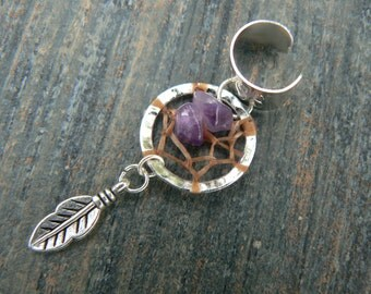 dreamcatcher ear cuff amethyst  cuff in boho gypsy hippie hipster native american  inspired and tribal style
