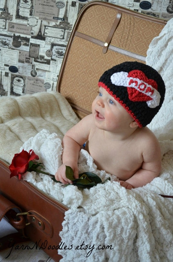 MADE TO ORDER Newborn Infant Baby Boy Crochet Tattoo Beanie Photography Prop Valentine's Day