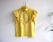 Vintage Gunne Sax Yellow Lace Victorian Style Eighties Size S Rare SALE 25