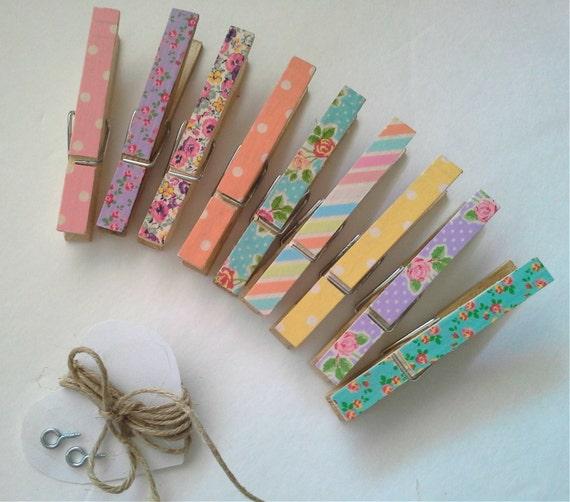 9 pièces florales Photo Kit de corde à linge. Décoration de mariage rustique. Boho. College Dorm Decor. Décor à la pépinière. Rupture de stock jusqu'au 20 septembre