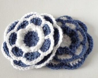 Blue Flower Brooch, Large Crochet Flower, Large Blue Flower, Blue and White Flower, Large Yarn Flower Pin, Acrylic Wool Flower