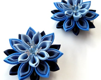 Kanzashi  Fabric Flowers. Set of 2 hair clips. Shades of blue