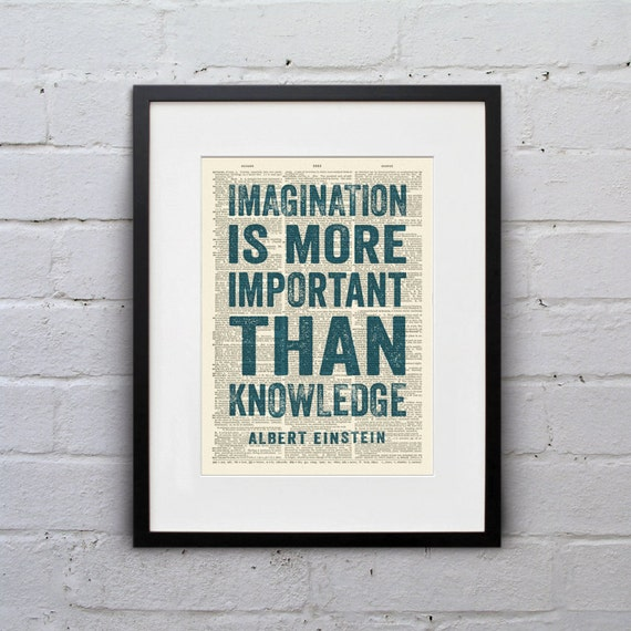 Imagination Is More Important / Albert Einstein - Inspirational Quote Dictionary Page Book Art Print - DPQU008