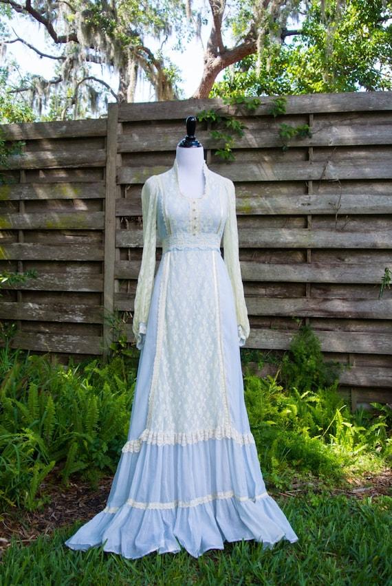Vintage Gunne Sax dress/ vintage lace dress/prairie dress/gauze dress/gunne sax by jessica/boho gown/maxi dress/vintage dress