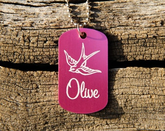 Personalized Aluminum Dog Tag Necklace - Swallow