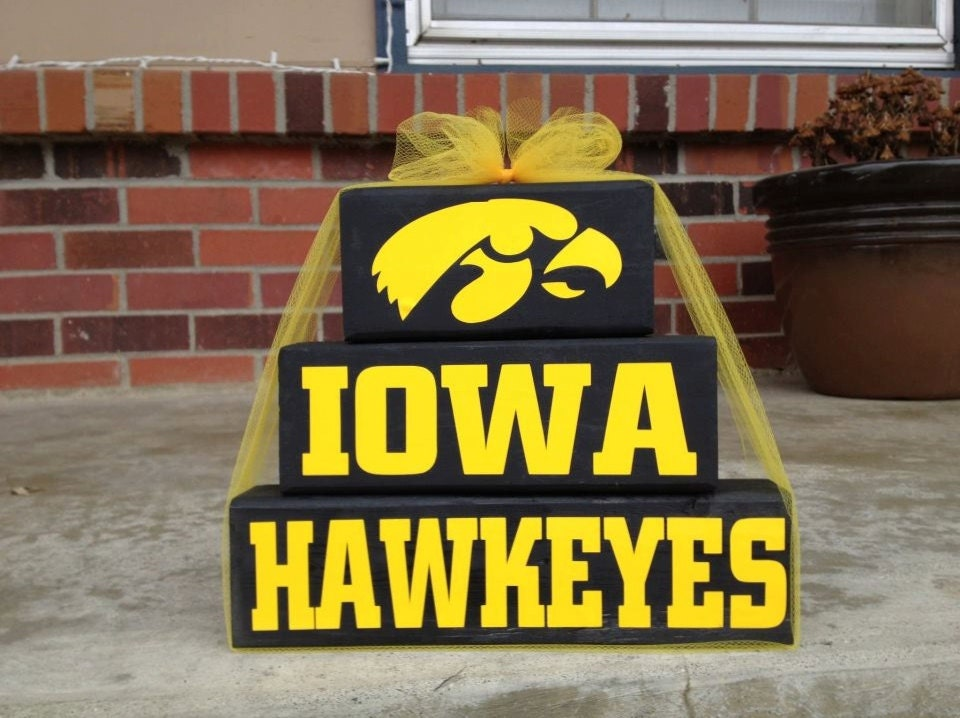 Iowa hawkeyes wood block set go hawkeyes by for Iowa hawkeye decor