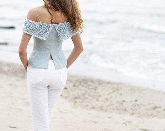 Linen top | linen blouse | 100% linen | hand knitted | grey top | handmade | open back blouse | washed linen | SALE
