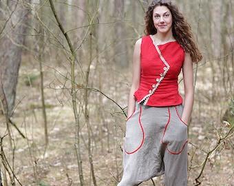 Harem pants   Low waist thong   Open croht panties   Capri pants   Eco friendly fabric   Washed linen   Organic pants   100% LINEN   Bengi