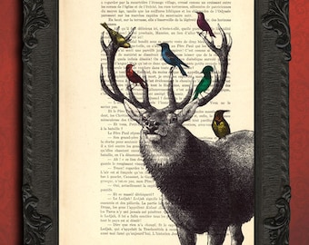 Deer with birds print deer head and birds art print stag head print