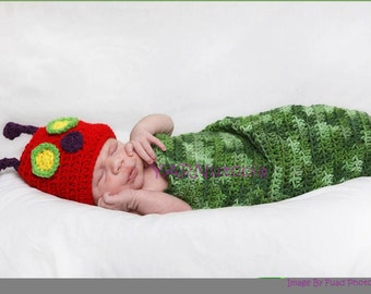 The Very Hungry Caterpillar Crocheted Cocoon and Hat Set - Photography Prop