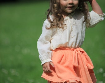 Summer peach ivory skirt S9 girls cotton lace beach bow birthday special occasion