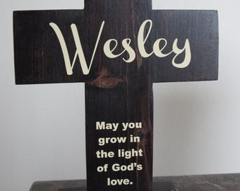 Cross with stand Set Solid Wood Personalized Name with Dove and Quote  Baptism Boy Girl Hand made