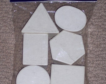Unfinished off-white paper mache boxes to paint,decorate embellish,6/pkg,ass't geometric shapes