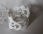 white crocheted doily bracelet/bangle/cuff