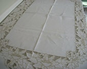 Vintage Linen Hand Embroidered Tablecloth Large All Occasion 81 X 61