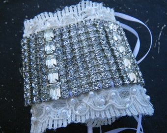 Handmade Bridal Cuff - Vintage lace and 1950s rhinestones - sparkly and one of a kind