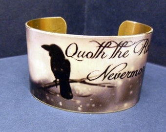 "Edgar Allan Poe ""The Raven"" Quote 1 1/2 Inch Brass Cuff Bracelet"