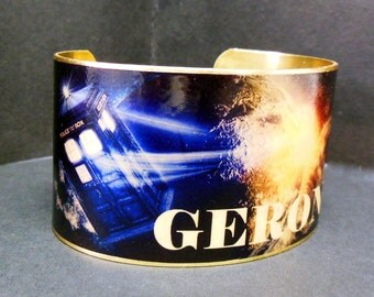 Dr Who Steampunk Doctor Who Tardis Geronimo Quote 1 1/2 Inch Brass Cuff Bracelet