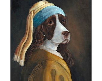Spaniel Prints, English Springer Spaniel With A Pearl Earring, Dogs in Clothes