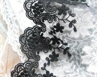 2 Yards Black lace, black embroidered lace trim, vintage black trim lace