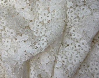 Off White lace fabric with flowers