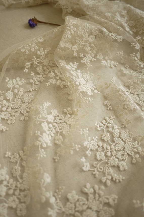 Ivory Bridal Lace Fabric Retro Embroidered Lace Chic Wedding