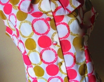 Vintage 60s Pink and Green Blouse by Whipped Cream by Fabrex