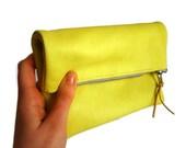 Leather clutch, neon yellow, foldover genuine leather yellow lemon clutch