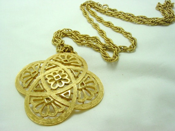 Large Vintage Crown Trifari Pendant and Chain (retro signed gold tone big costume jewelry cross celtic 50s 60s)