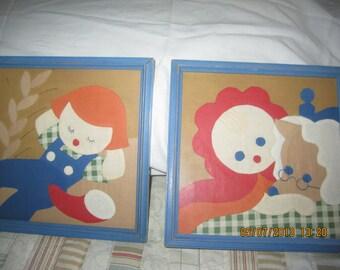 Set of Framed Appliques,Little Red Riding Hood,Little Boy Blue,Wonderful