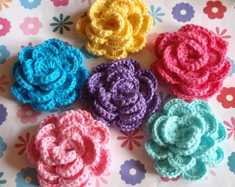 6 Crochet Flowers  YH-121-02
