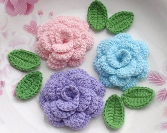 3 Crochet  Flowers (Roses) With Leaves YH - 142-08