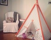 "Chevron Tent with Solid Sleeves 44"" Size or Pick your color Teepee play fort Made to Order Tents - Theteepeeguy"