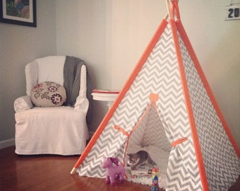 "Chevron Teepee with Solid Orange Sleeves 44"" Size Pick your colors Made to Order Play Tent"